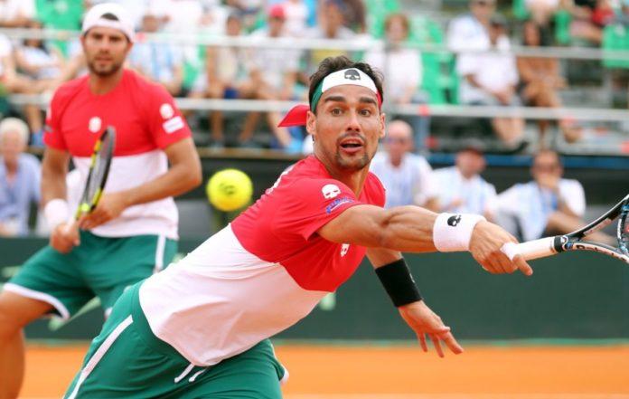 Bolelli e Fognini durante un match Davis